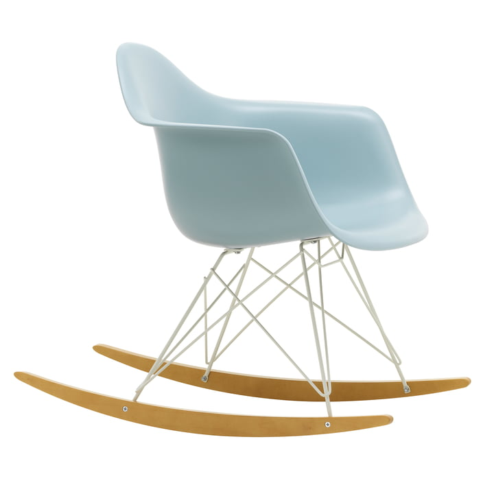 Eames Plastic Armchair RAR from Vitra in maple yellowish / white / ice grey