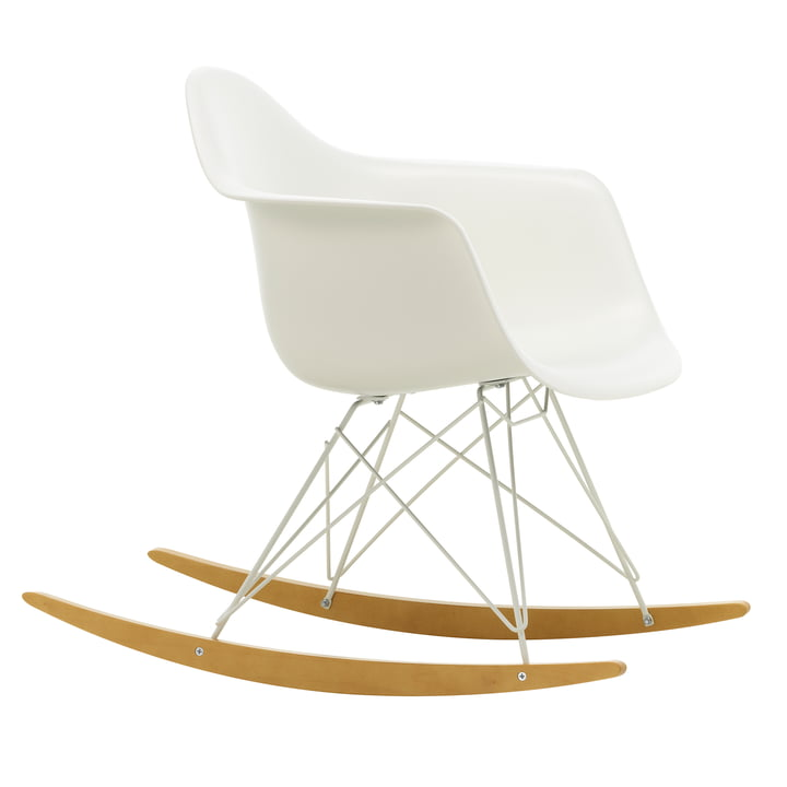 Eames Plastic Armchair RAR from Vitra in maple yellowish / white / white