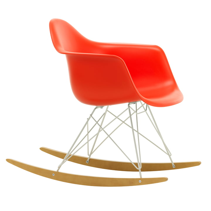 Eames Plastic Armchair RAR from Vitra in maple yellowish / white / poppy red