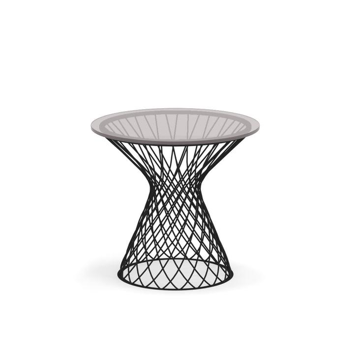 Heaven Side table H 47 cm, Ø 45 cm, black / glass smoky grey from Emu