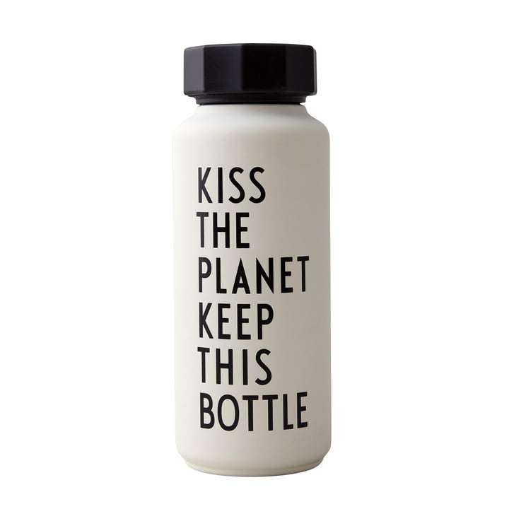 AJ Thermos Bottle Hot & Cold 0.5 l, Kiss The Planet Keep This Bottle / white (special edition) by Design Letters