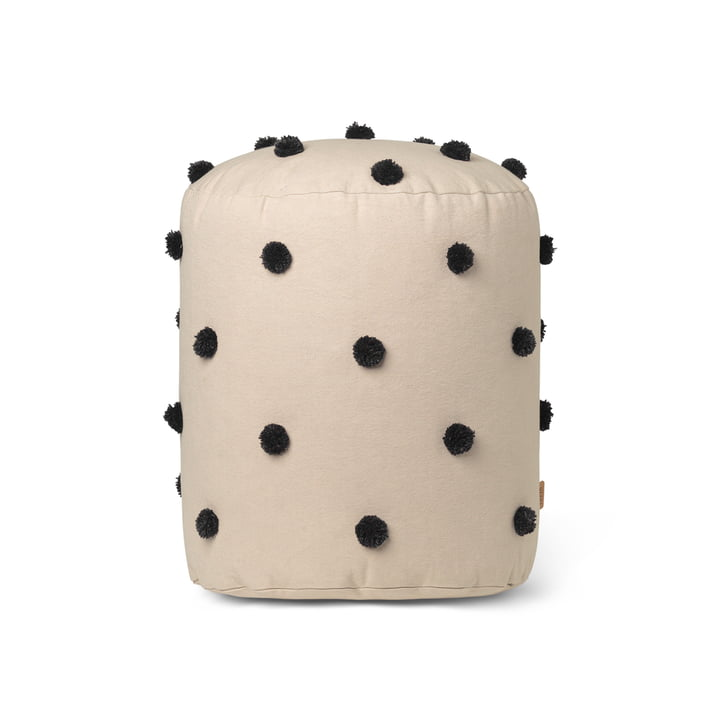 Dot Pouf Ø 39 x H 48 cm from ferm Living in sand / black