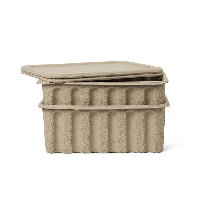 Paper Pulp storage box by ferm Living in brown (set of 2)