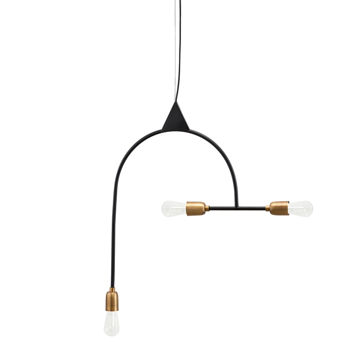 Arch Pendant lamp, 3 illuminants, black / brass from House Doctor