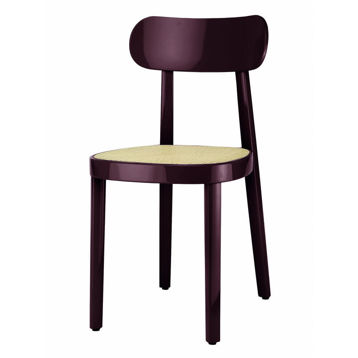 118 Chair of Thonet with wickerwork with plastic support fabric in beech dark brown-violet high gloss varnished