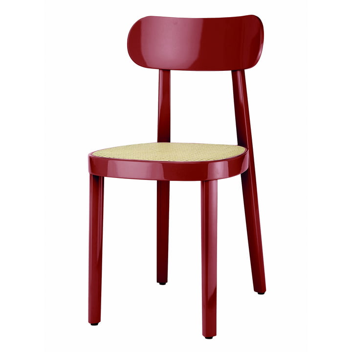 118 Chair of Thonet with wickerwork with plastic support fabric in beech dark red high gloss varnished