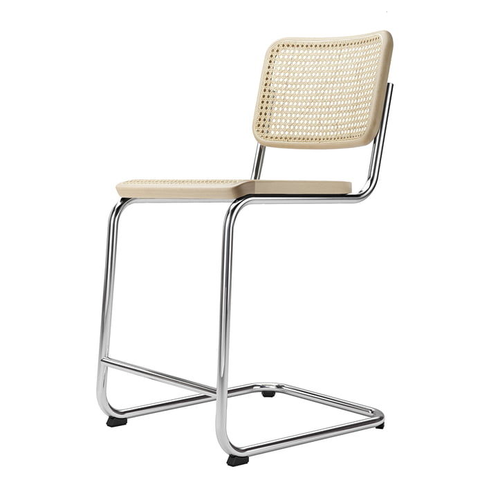 S 32 VHT bar chair SH 64 cm from Thonet in chrome / natural beech / wickerwork with support fabric