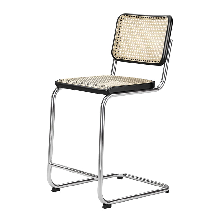 S 32 VHT bar chair SH 64 cm from Thonet in chrome / beech stained black / wickerwork with support fabric