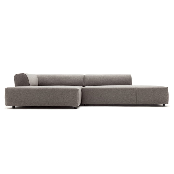 184 Sofa, Récamiere left, cover beige grey (7404) / standard foot plastic by freistil