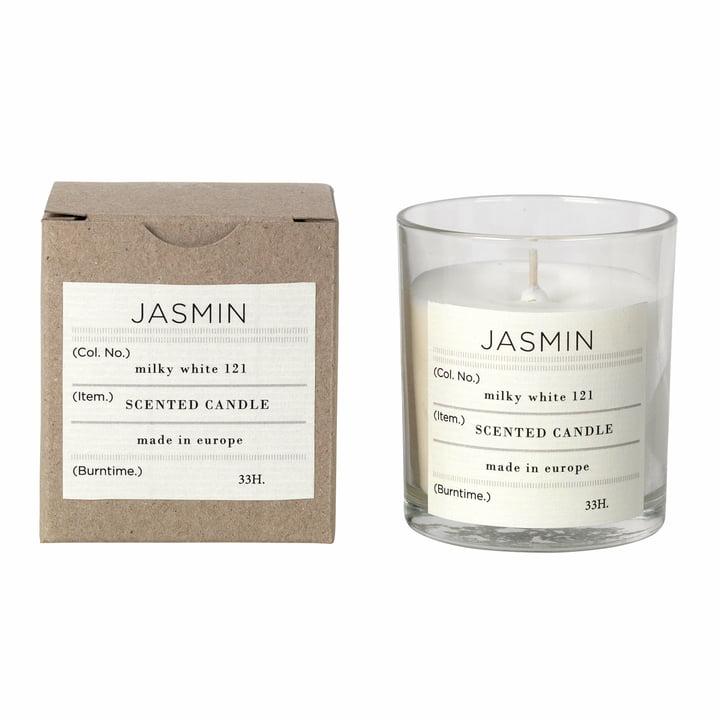 Jasmine scented candle, Ø 8 x H 8 cm, white from Broste Copenhagen