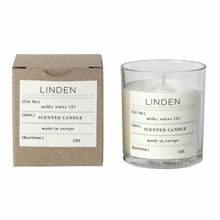 Lime scented candle, Ø 8 x H 8 cm, white from Broste Copenhagen