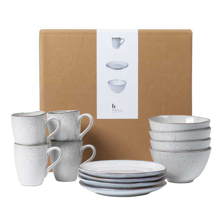 Nordic tableware breakfast set, sand by Broste Copenhagen