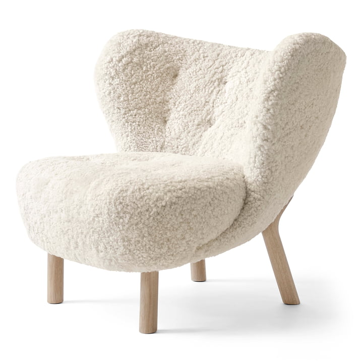 Little Petra VB1 Lounge Chair by & tradition in white oiled oak / sheepskin Moonlight