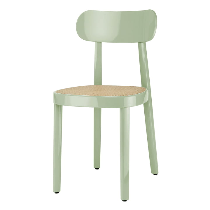 118 Chair of Thonet with wickerwork with plastic support fabric / beech mint high gloss varnished