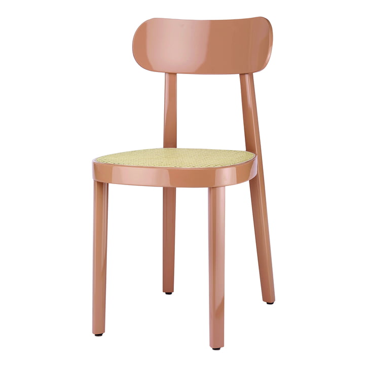 118 Chair of Thonet with wickerwork with plastic support fabric / beech antique pink high gloss varnished