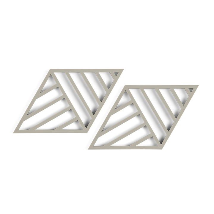 Rhombus Lines Coaster 20 x 11,5 cm (set of 2) from Zone Denmark in mud