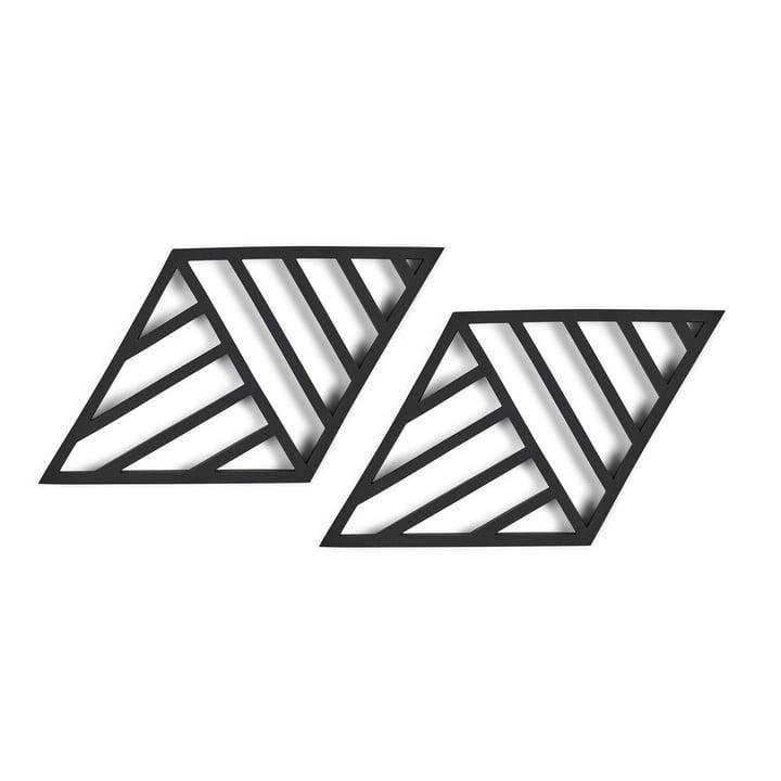 Rhombus Lines Coaster 20 x 11,5 cm (set of 2) from Zone Denmark in black