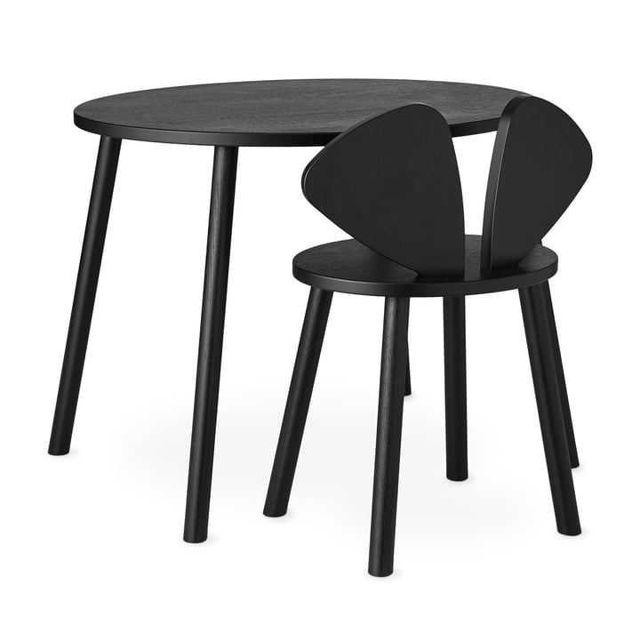 Mouse School Set (Junior - chair and table) from Nofred in black
