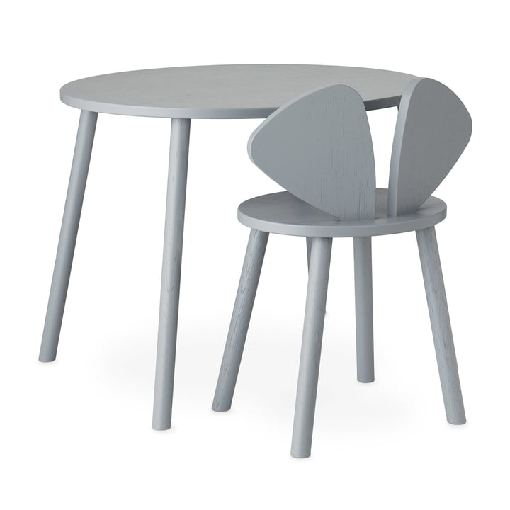 Mouse School Set (Junior - chair and table) from Nofred in grey