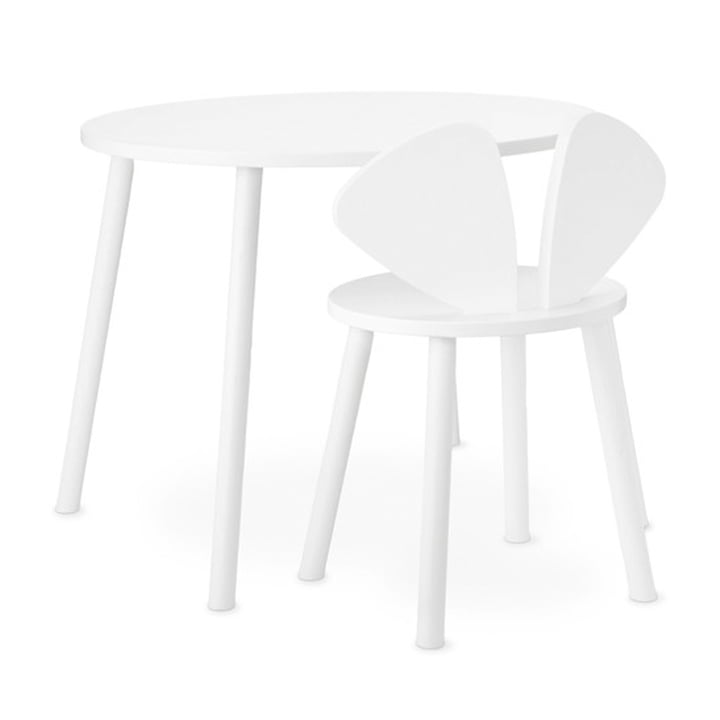 Mouse School Set (Junior - chair and table) from Nofred in white