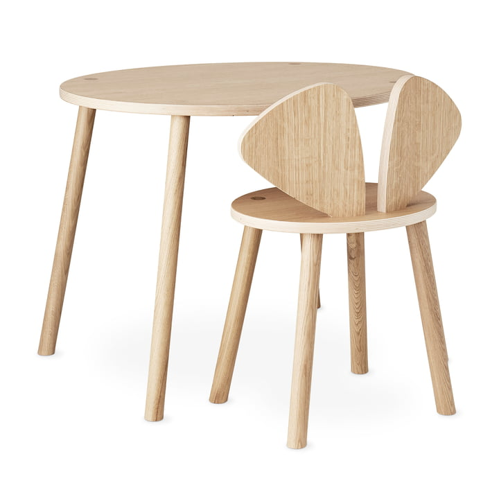 Mouse School Set (Junior - chair and table) from Nofred in oak matt lacquered