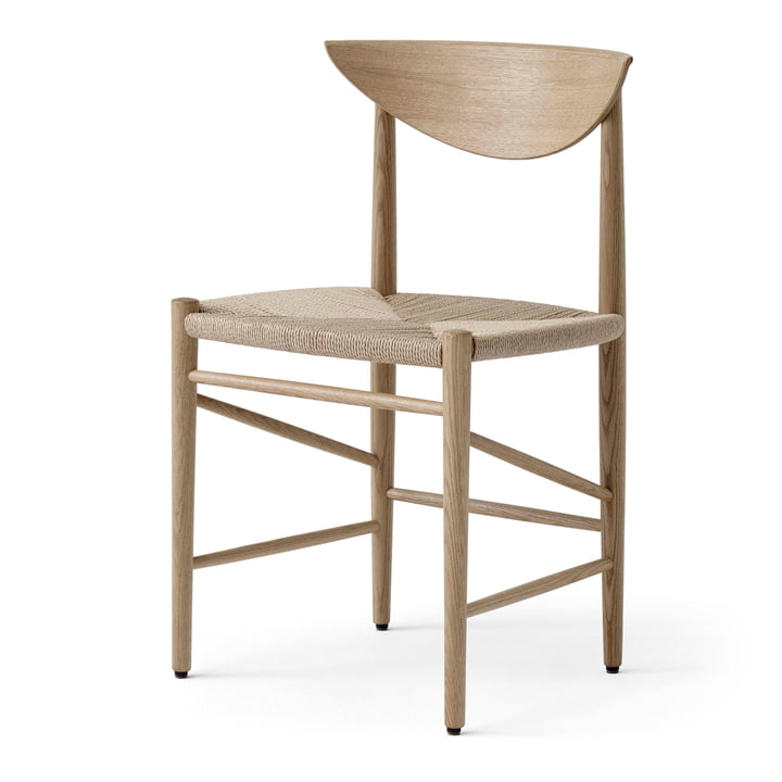 Drawn HM3 Chair from & tradition in oak white oiled / paper cord nature