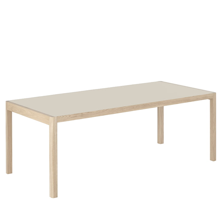 Workshop dining table, 200 x 92 cm, oak / linoleum warm grey by Muuto