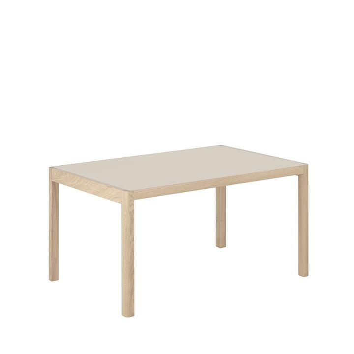 Workshop dining table, 140 x 92 cm, oak / linoleum warm grey by Muuto