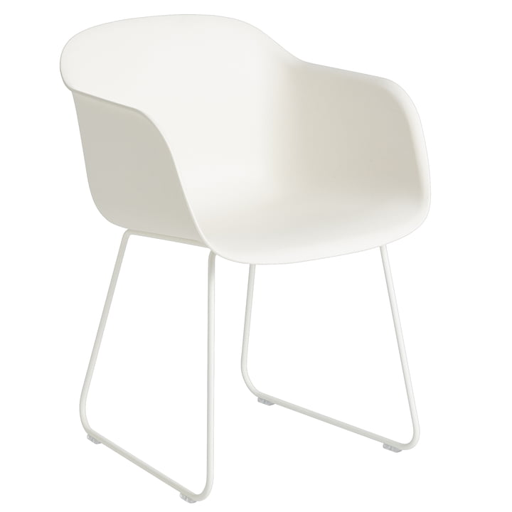 Fiber Armchair Sled Base, natural white / white from Muuto