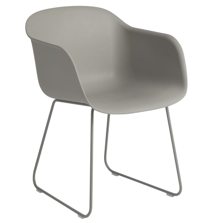 Fiber Armchair Sled Base, grey by Muuto