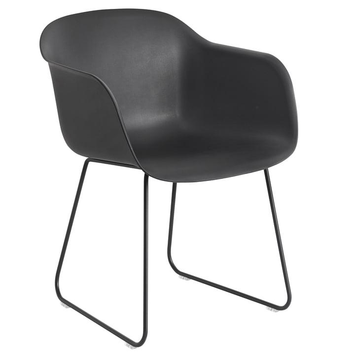 Fiber Armchair Sled Base, black by Muuto