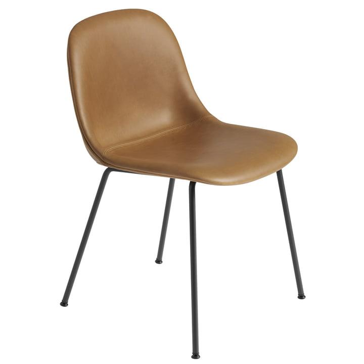 Fiber Side Chair Tube Base, black / Refined leather cognac Silk by Muuto