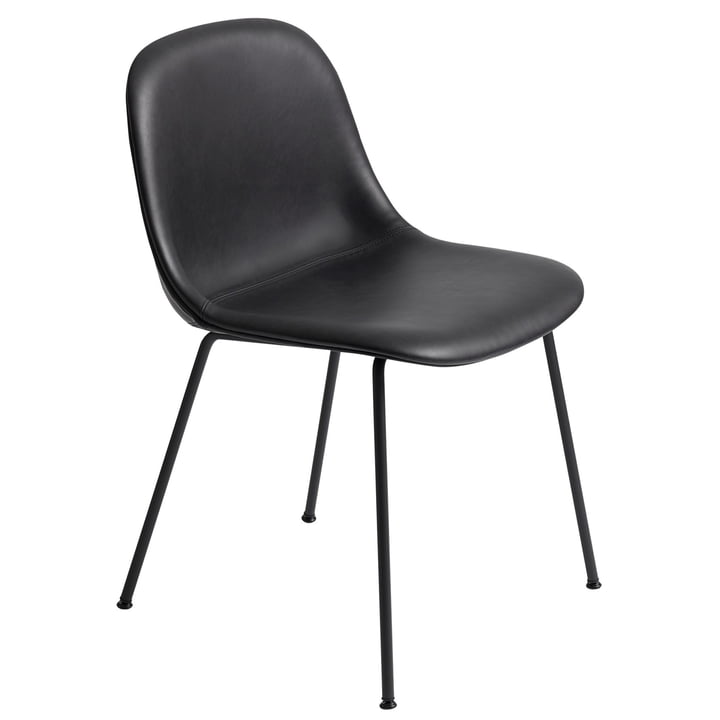 Fiber Side Chair Tube Base, black / Refine Leather black Silk by Muuto