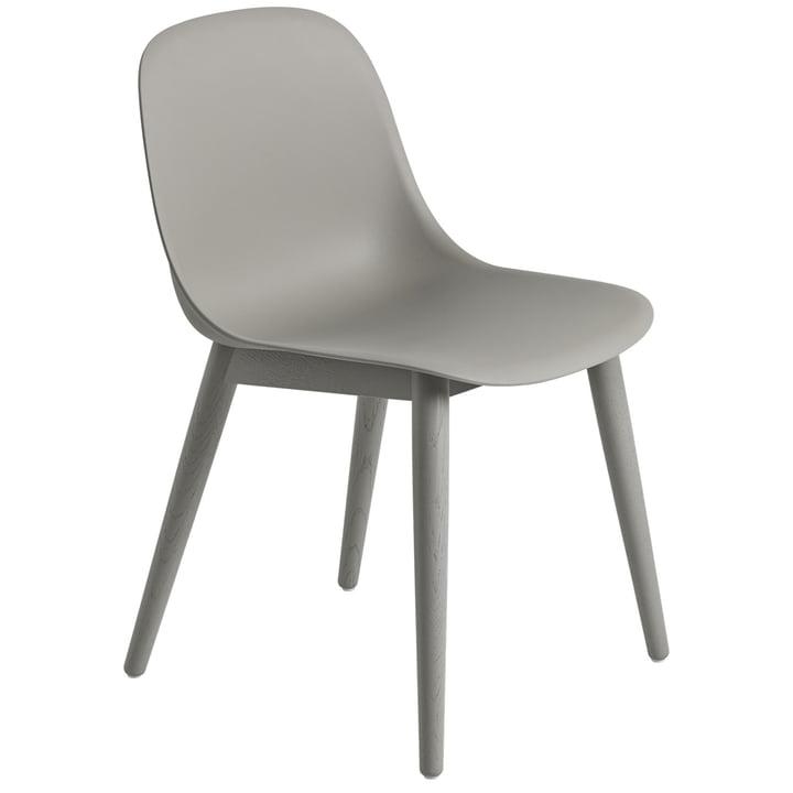 Fiber Side Chair Wood Base, grey / grey from Muuto