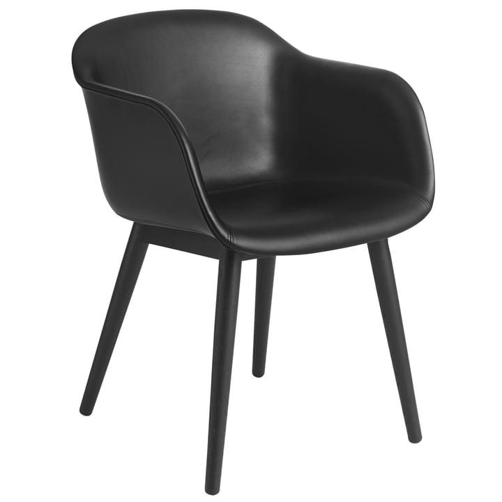Fiber Chair Wood Base black / Refine leather black from Muuto