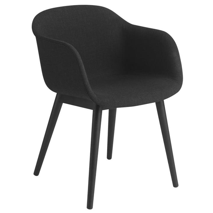 Fiber Chair Wood Base, black / Remix 183 by Muuto