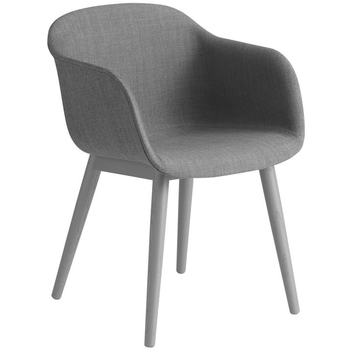 Fiber Chair Wood Base, grey / Remix 133 by Muuto