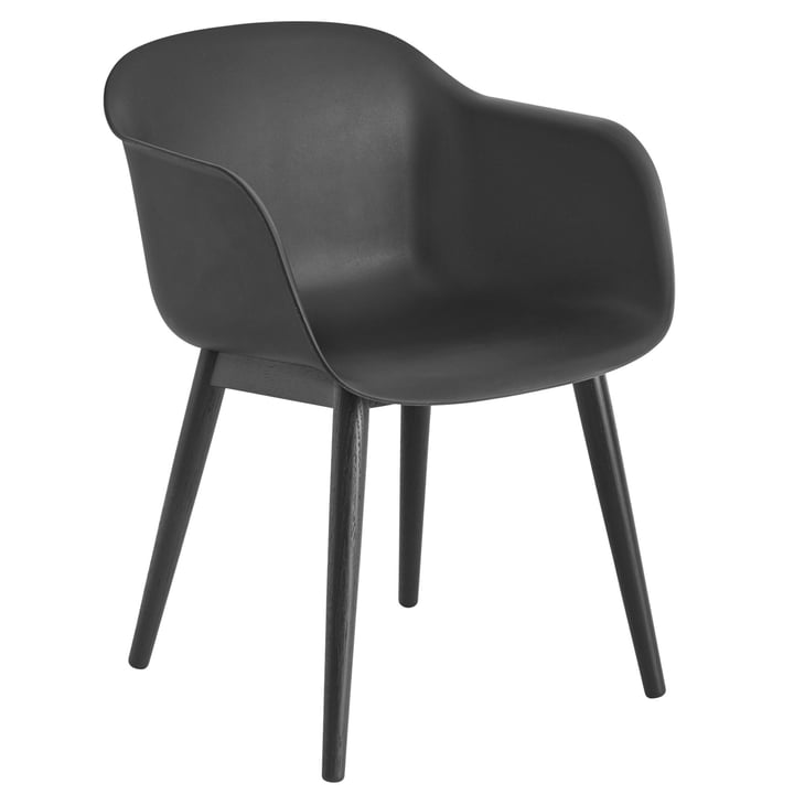 Fiber Chair Wood Base, black by Muuto
