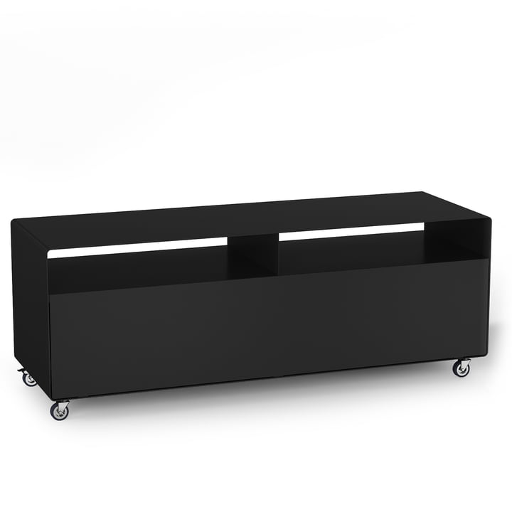 R 109N Sideboard with flap door on castors from Müller Möbelfabrikation in anthracite satin matt (RAL 7016)