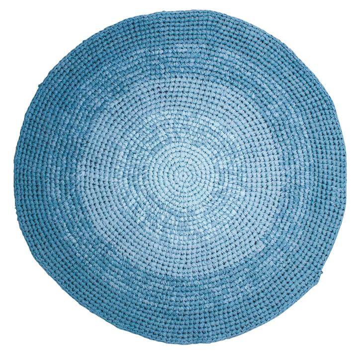 Crochet carpet Ø 120 cm from Sebra in gradient blue