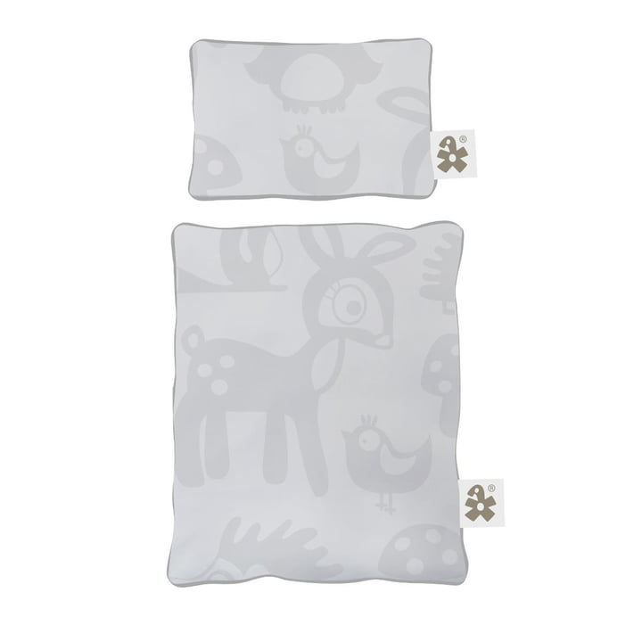Dolls bedding for dolls bed from Sebra in Forest grey
