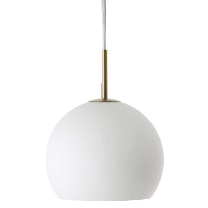 Ball Pendant lamp Ø 25 cm, opal glass / antique brass by Frandsen