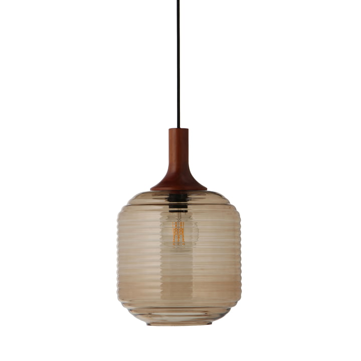 Honey Pendant lamp Ø 26 cm, glass amber / rubber wood dark stained by Frandsen