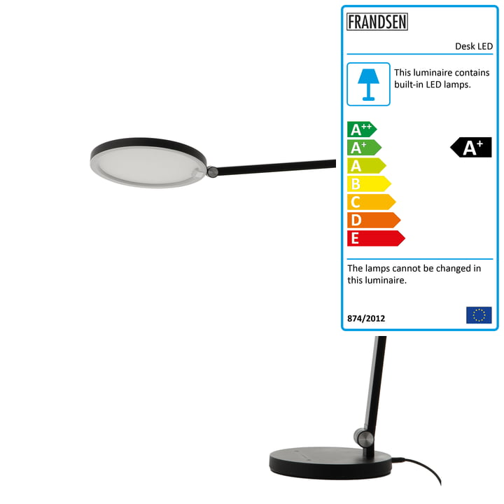 Desk LED table lamp, black matt from Frandsen