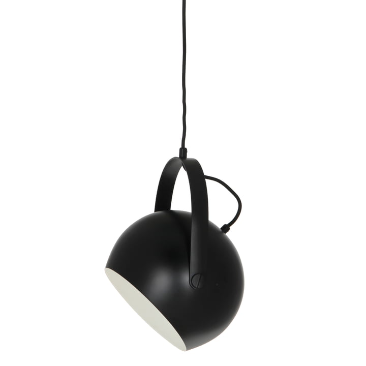 Ball Pendant lamp with handle Ø 19 cm, black / white from Frandsen