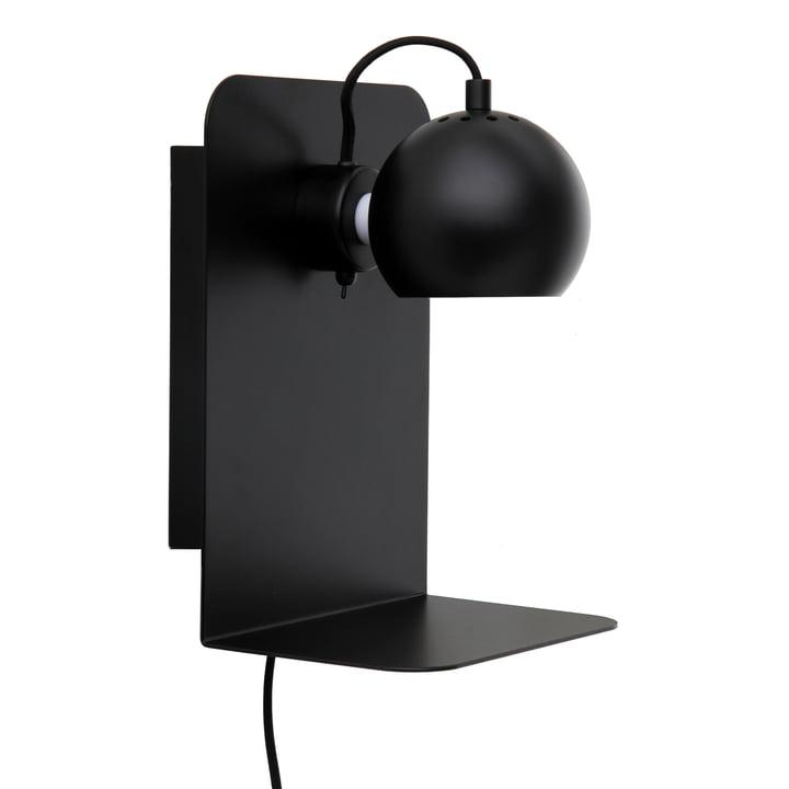 Ball Wall lamp USB with shelf, black matt from Frandsen
