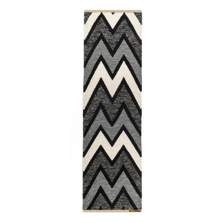 carpet Zack 80 x 250 cm from Born in Sweden in dark grey / light grey / white / black