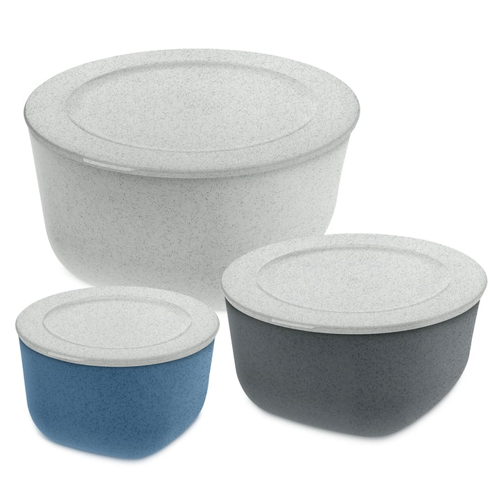 Connect Storage tin set (3-piece) of Koziol in organic grey 4 l / organic deep grey 2 l / organic blue 1 l