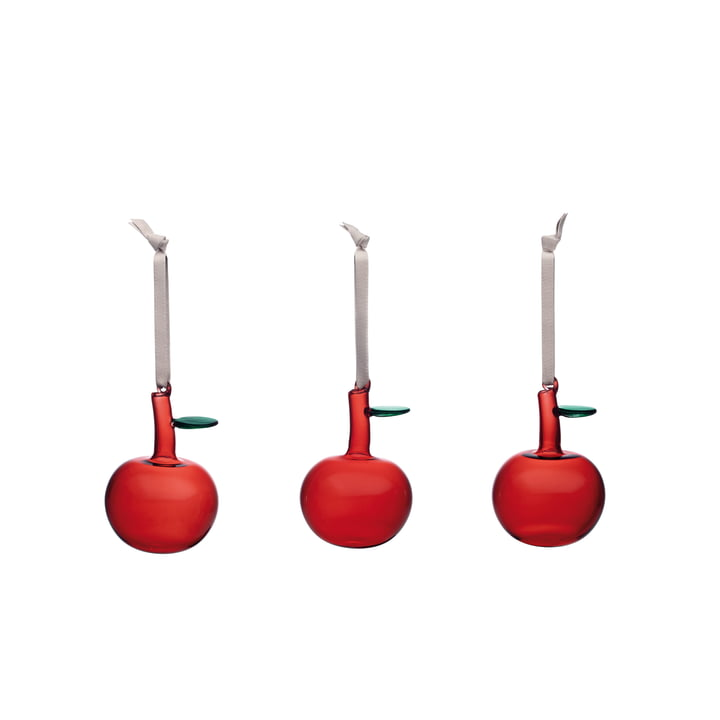 Glass apple (set of 3) from Iittala in red