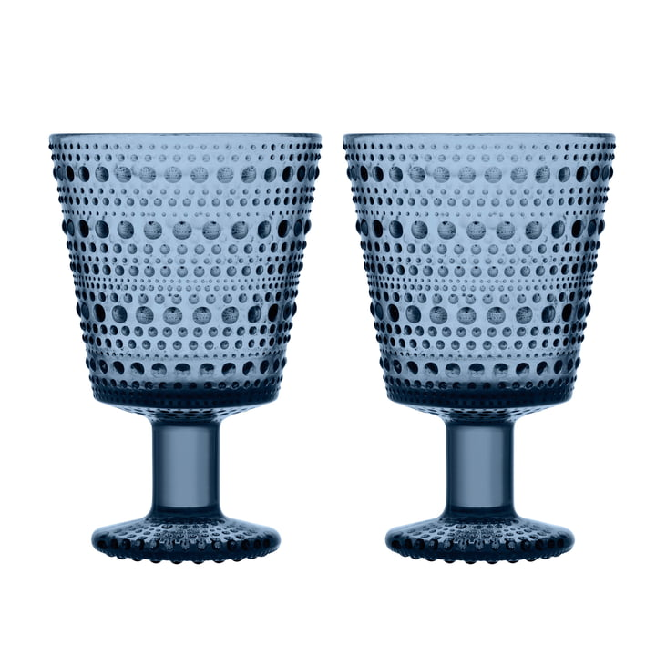 Kastehelmi Drinking glass with foot 26 cl from Iittala in rain blue (set of 2)